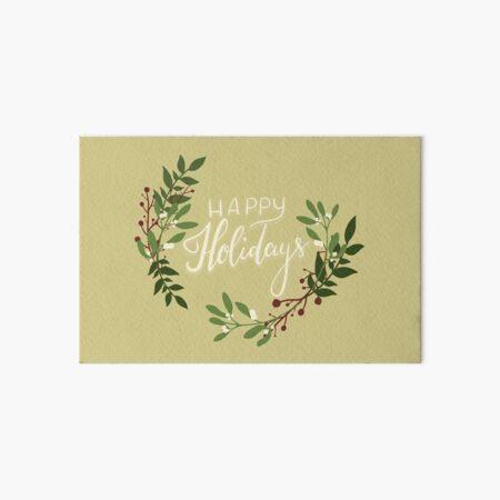 Happy Holidays Floral Wreath Art Board Print