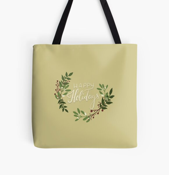 Happy Holidays Floral Wreath All Over Print Tote Bag