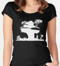 Gorillaz - Plastic Beach (Silhouette) Women's Fitted Scoop T-Shirt