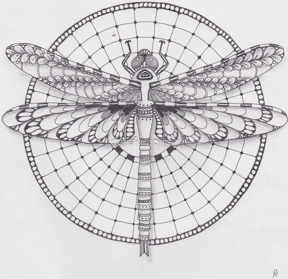 Drawing Dragonfly Mandala
