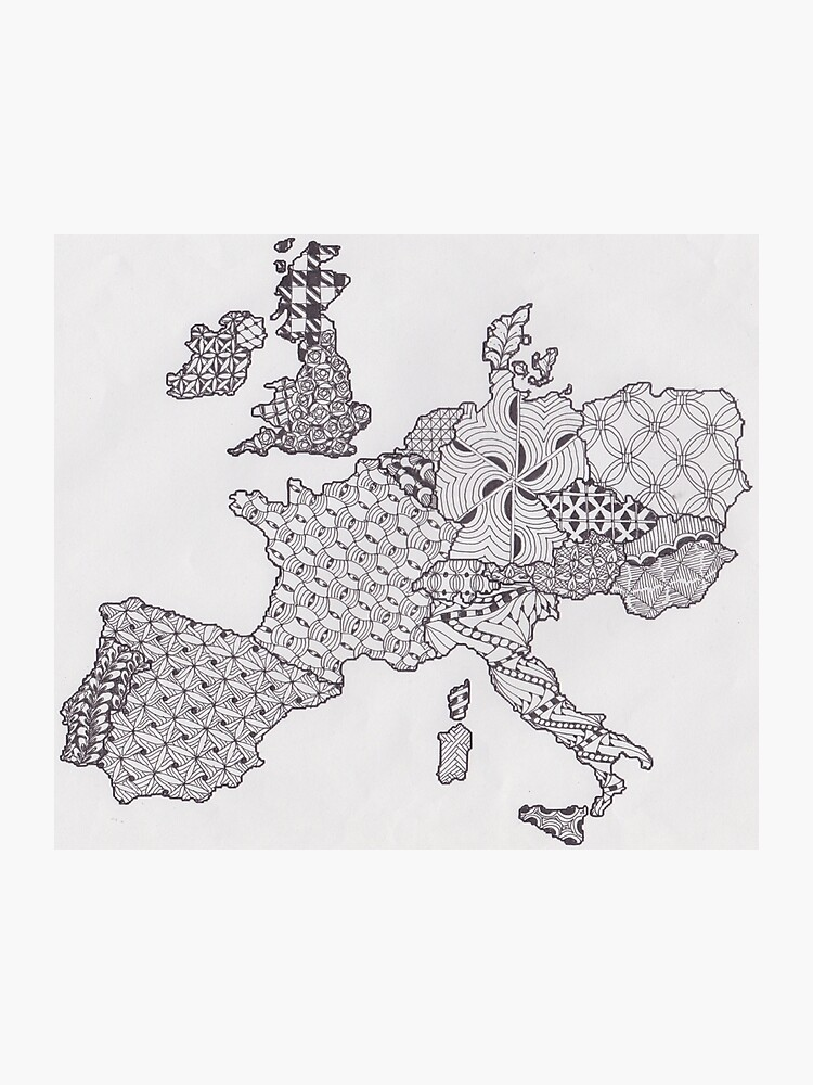 Karte Europa Schwarz Weiss.Zentangle Inspirierte Kunst Europa Karte Schwarz Und Weiss Fotodruck
