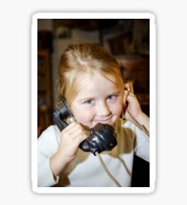 Cute preschooler girl talking by old vintage retro telephon, closeup portrait Sticker