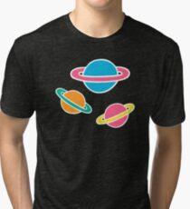 Pink Planets Pattern Tri-blend T-Shirt