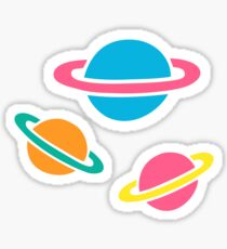 Pink Planets Pattern Sticker