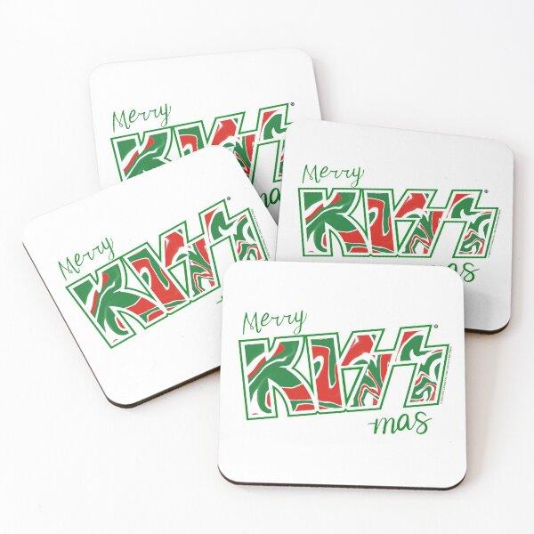 Merry Kiss-Mas Christmas Kiss The Band Logo Green Coasters (Set of 4)