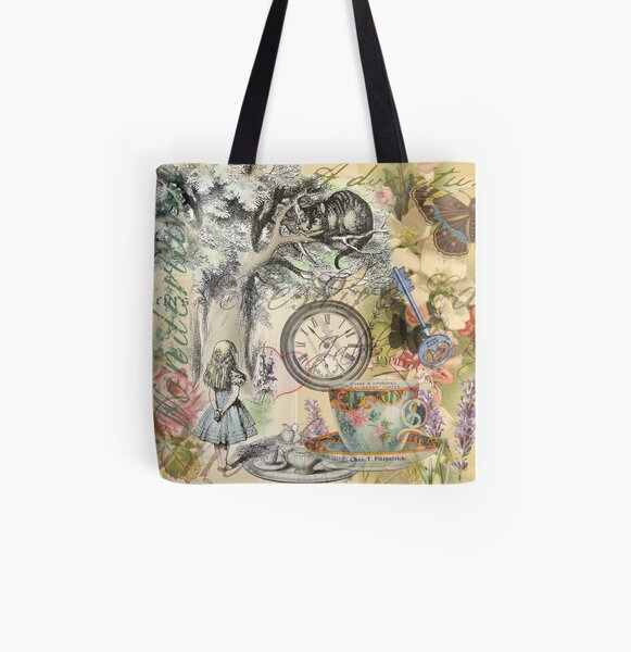MAD HATTER THEME BAG CAT QUOTE ALICE IN WONDERLAND CHESHIRE CAT TOTE BAG