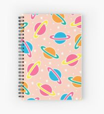 Pink Planets Pattern Spiral Notebook