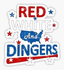 Red White and Dingers Baseball Softball Digital Art Sticker