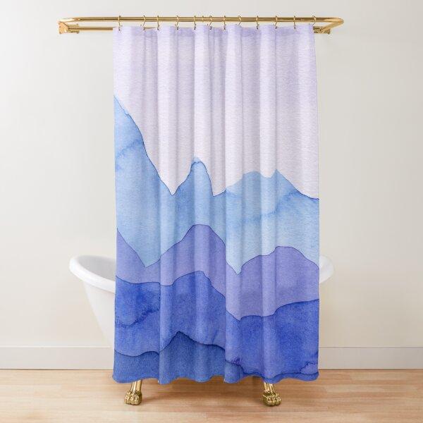 Berge in Blau, Violett Duschvorhang