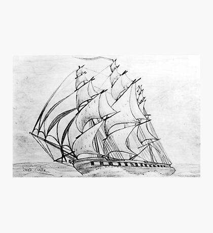 Graphite  Pencil Drawing of a Clipper Ship at Top Speed Photographic Print