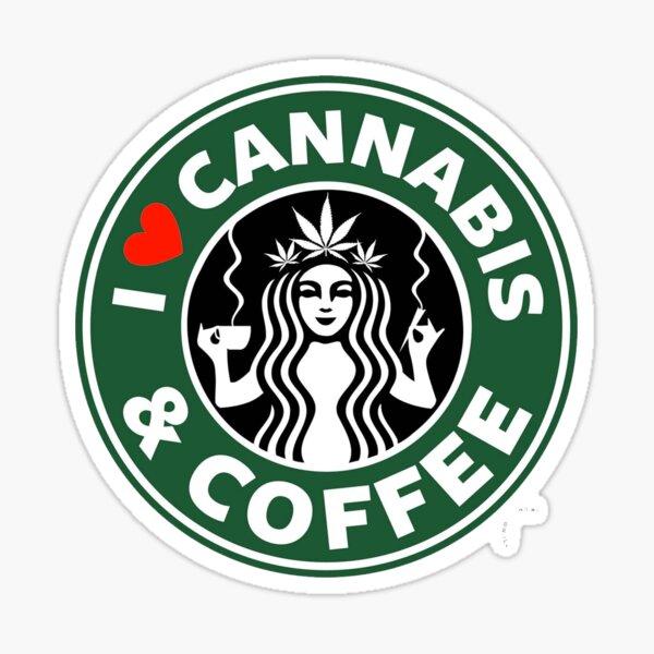 I Love Cannabis & Coffee - Medical Cannabis - Weed  Sticker