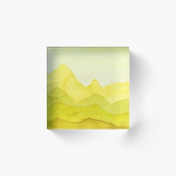 Berge in Gelb, Lemon, Grün Acrylblock