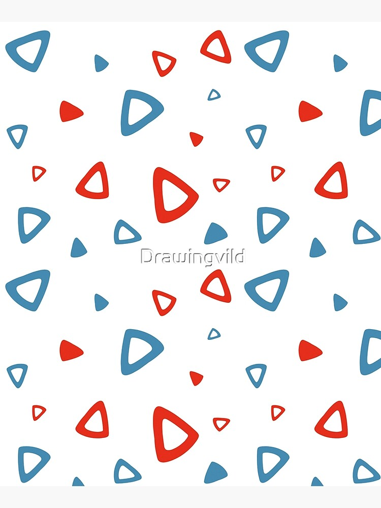 Nostalgic 90s Blue and Red Triangle Pattern by Drawingvild