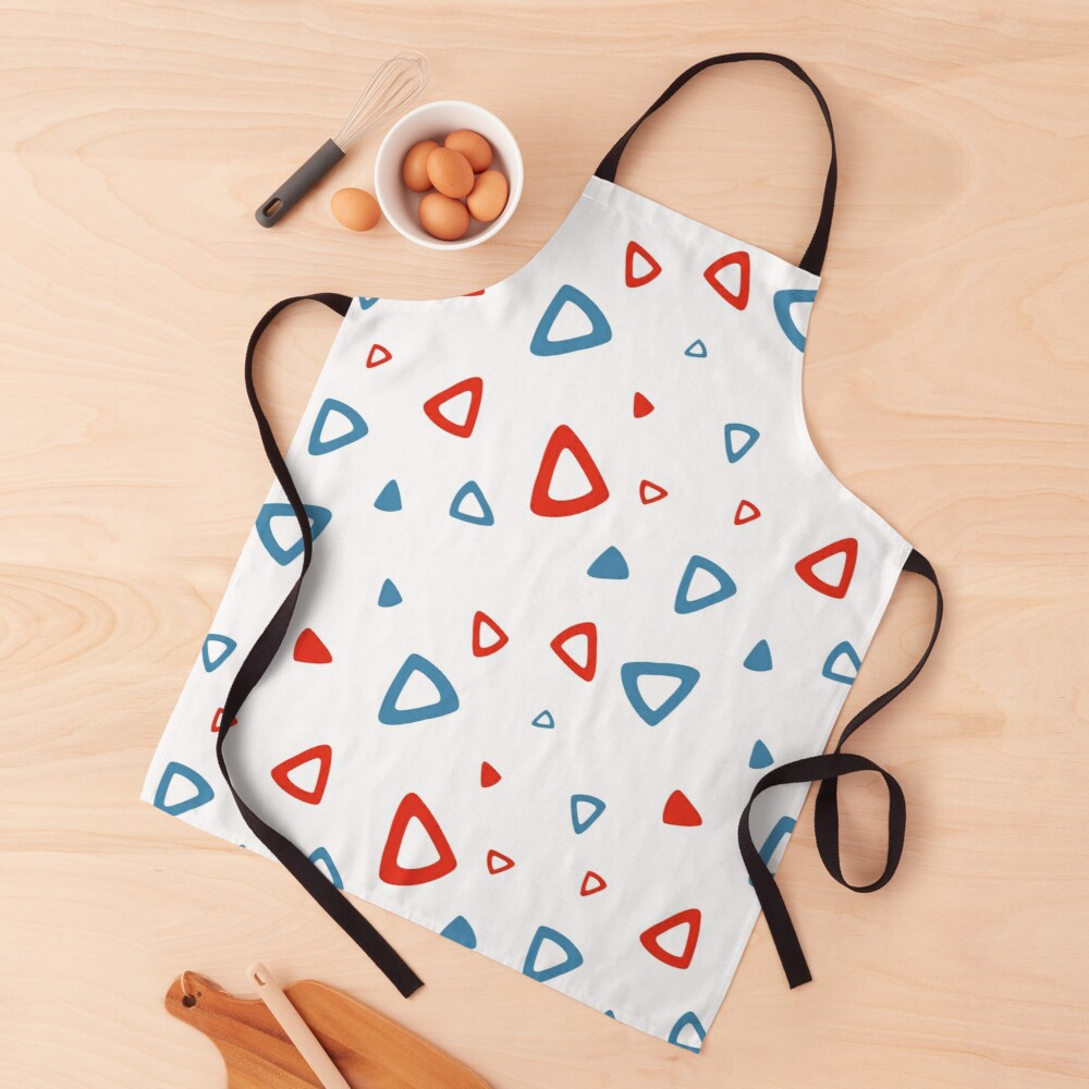 Nostalgic 90s Blue and Red Triangle Pattern Apron