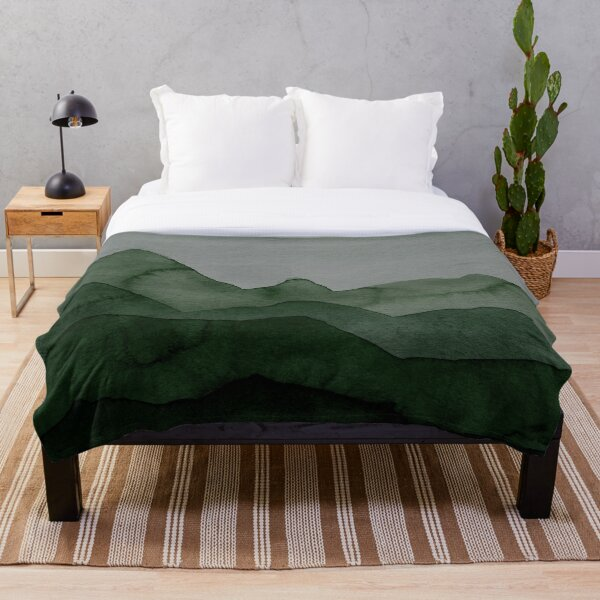 Mountains in green, gray, black, forest Throw Blanket