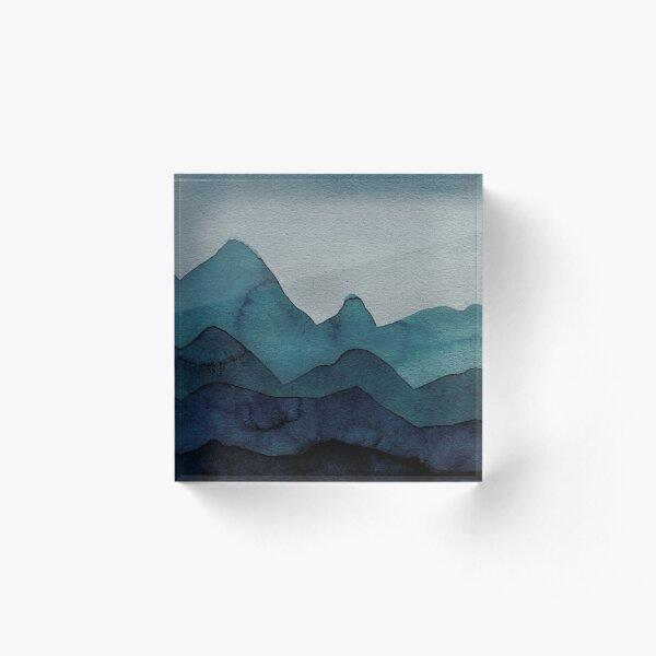 Berge in Petrol, Blau, Türkis, Grün, Azure, Grau, Schwarz Acrylblock