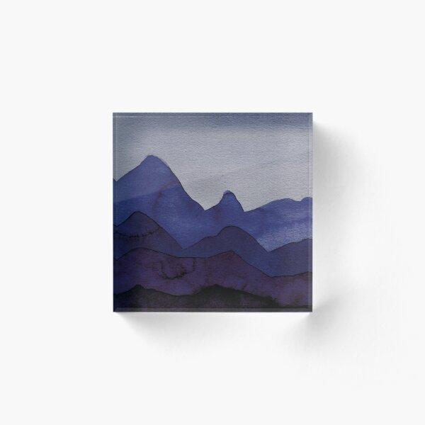 Berge in Blau, Violett, Türkis, Azure, Schwarz, Grau Acrylblock
