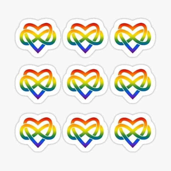 9x Rainbow Polyamory Infinity Heart Sticker
