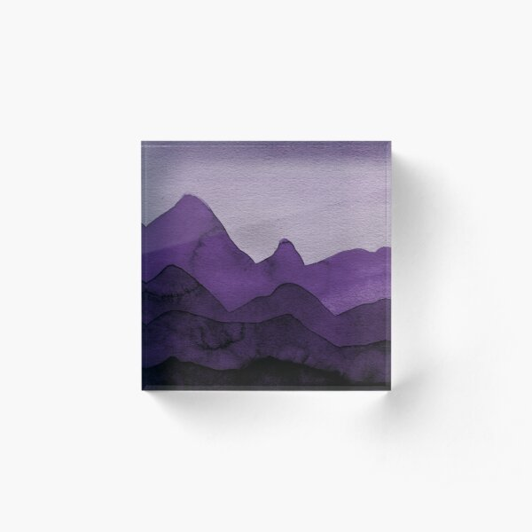 Berge in Violett, Magenta, Lila, Grau, Schwarz  Acrylblock