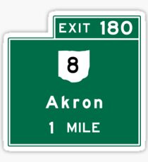Akron, Road Sign, Ohio Sticker
