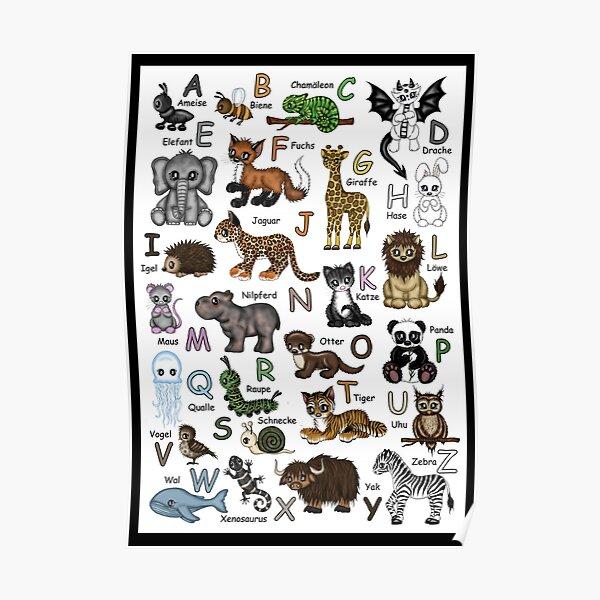 Tier ABC ( deutsch) Buchstaben Tiere Poster