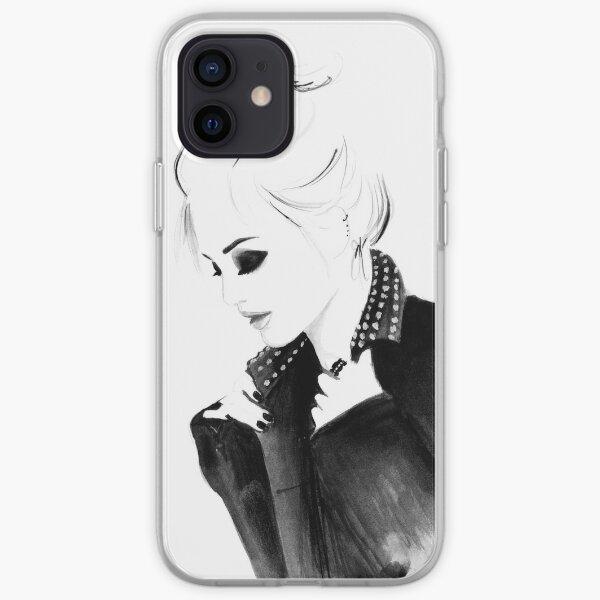 Illustration de mode aquarelle et encre intitulée Topknot Punky Coque souple iPhone