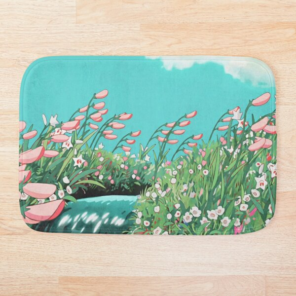 Anime Flowers in the river Scenery Bath Mat