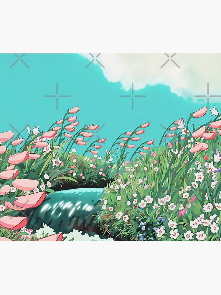Anime Flowers in the river Scenery by layar5