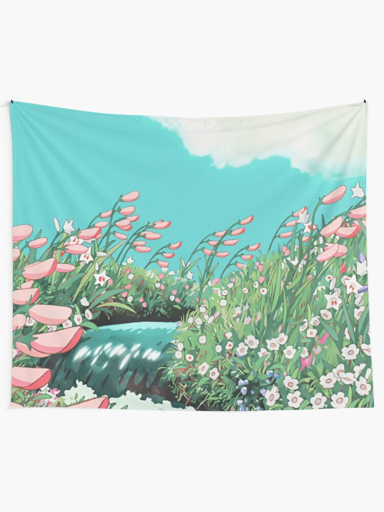 Alternate view of Anime Flowers in the river Scenery Tapestry