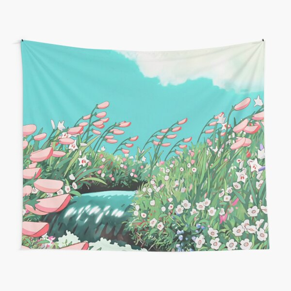 Anime Flowers in the river Scenery Tapestry