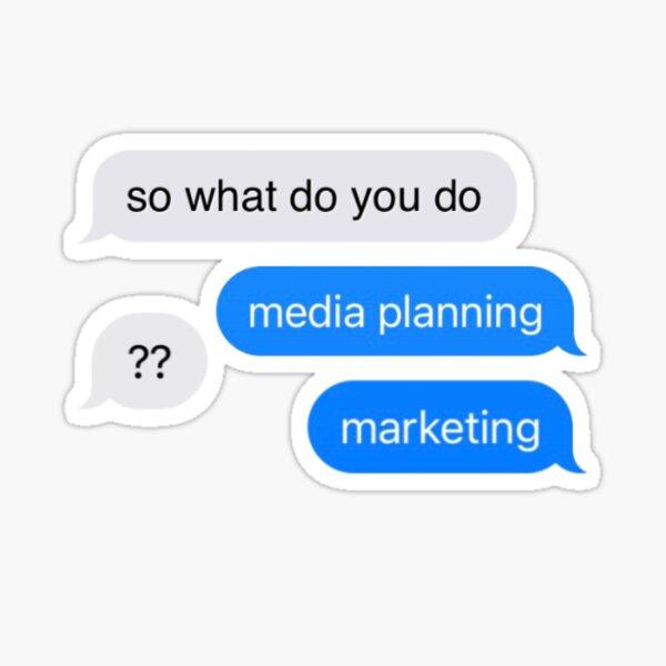 Media planning text Glossy Sticker