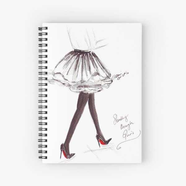 Watercolour & Ink Fashion Illustration Titled Walking in Louboutins Spiral Notebook