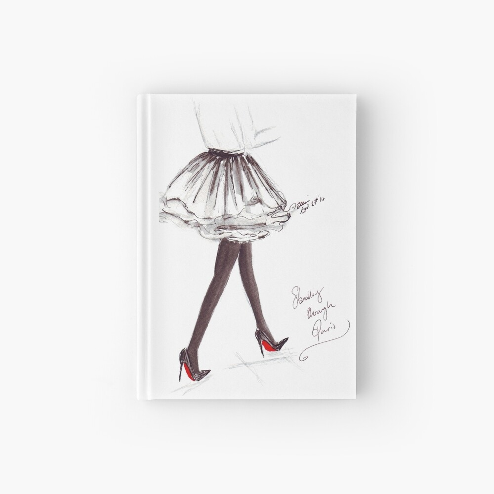 Watercolour & Ink Fashion Illustration Titled Walking in Louboutins Hardcover Journal
