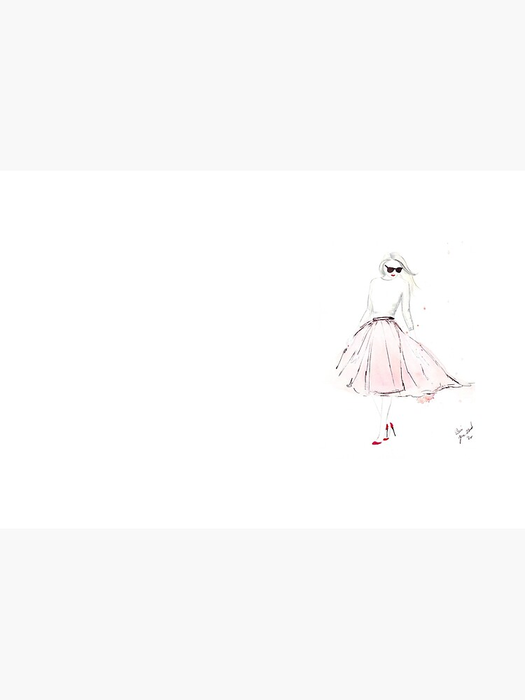 Watercolour & Ink Fashion Illustration Titled Pink Tulle by FallintoLondon