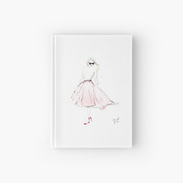 Watercolour & Ink Fashion Illustration Titled Pink Tulle Hardcover Journal