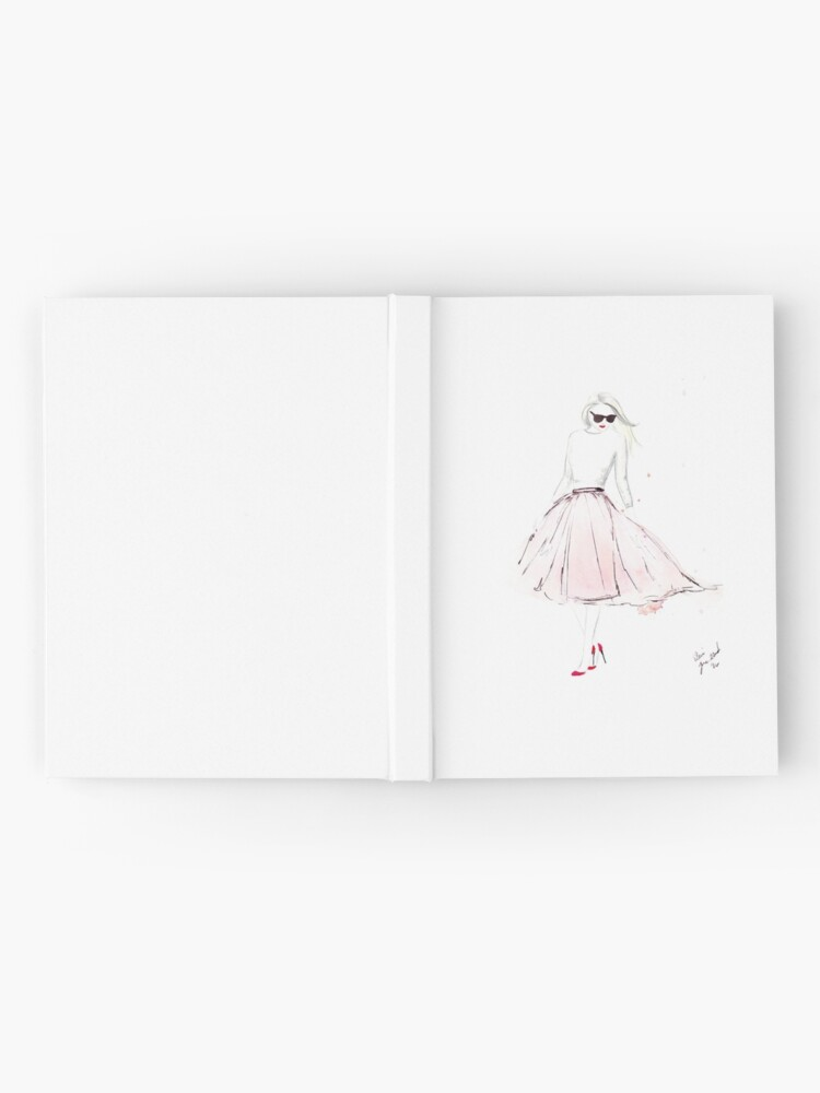 Alternate view of Watercolour & Ink Fashion Illustration Titled Pink Tulle Hardcover Journal