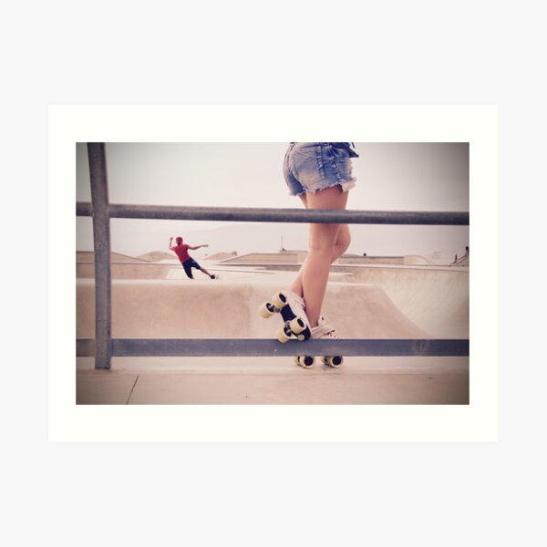 Rollerskate Girl in Venice Beach, California   Kunstdruck