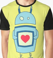 Cute Clumsy Robot With Heart Graphic T-Shirt