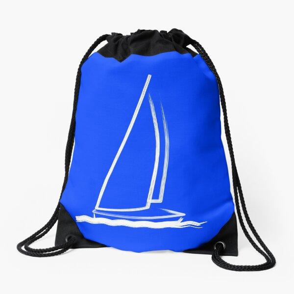 Sailing boat on windy sea Drawstring Bag