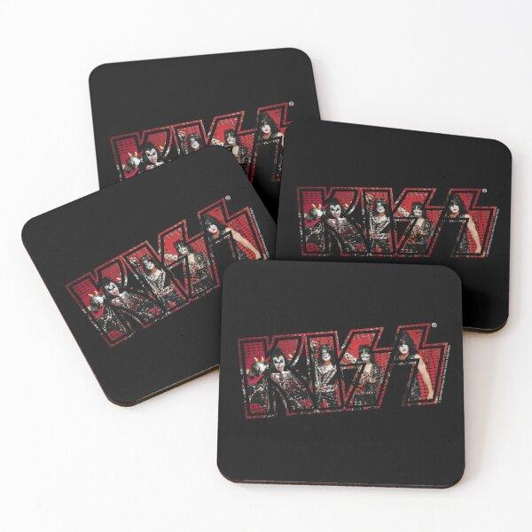 Kiss The Band Photoshoot Band Poster Logo Dark Coasters (Set of 4)