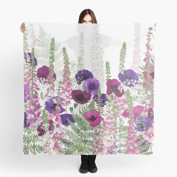 Purple Poppies, Pink Foxgloves & Ferns Scarf
