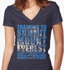 Training to Summit Mount Everest Women's Fitted V-Neck T-Shirt
