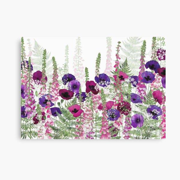 Purple Poppies, Pink Foxgloves & Ferns Canvas Print