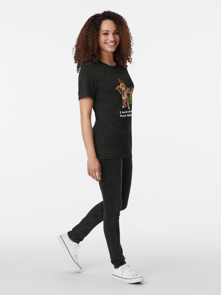 Alternate view of Cute Fox Terrier Party Shirt (dark apparel) Tri-blend T-Shirt