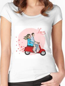 Lovers on a scooter Women's Fitted Scoop T-Shirt