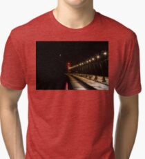 South Haven Lighthouse at Night Tri-blend T-Shirt
