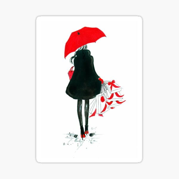 Watercolour & Ink Fashion Illustration Titled Christmas Shopping Sticker