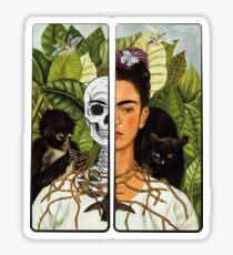 Frida Kahlo - Self Portrait (1940) Skeleton Version Sticker