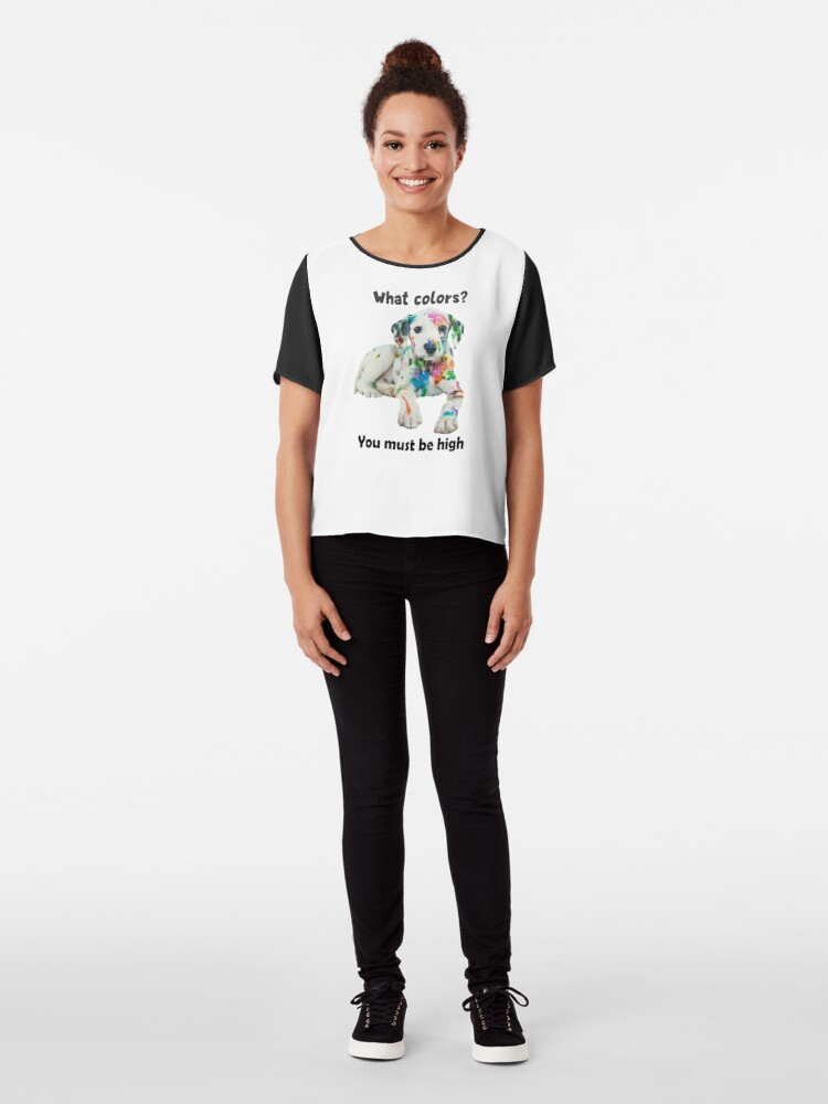 Alternate view of Technicolor Puppy Party Shirt (light apparel) Chiffon Top