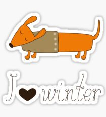 Winter dachshund Sticker